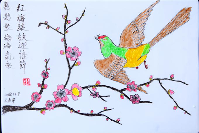 同学们的作品涵盖了山水画,人物画,花鸟画等,一幅幅果酱画排